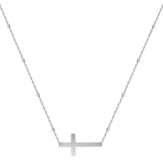 Sideways Cross Necklace in 14k White Gold (18)