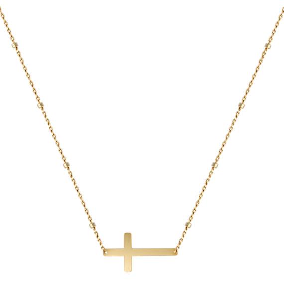 "Sideways Cross Necklace in 14k Yellow Gold (18"")"