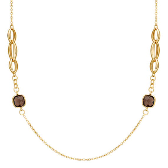 Smoky Quartz Necklace in Yellow Sterling Silver (28)