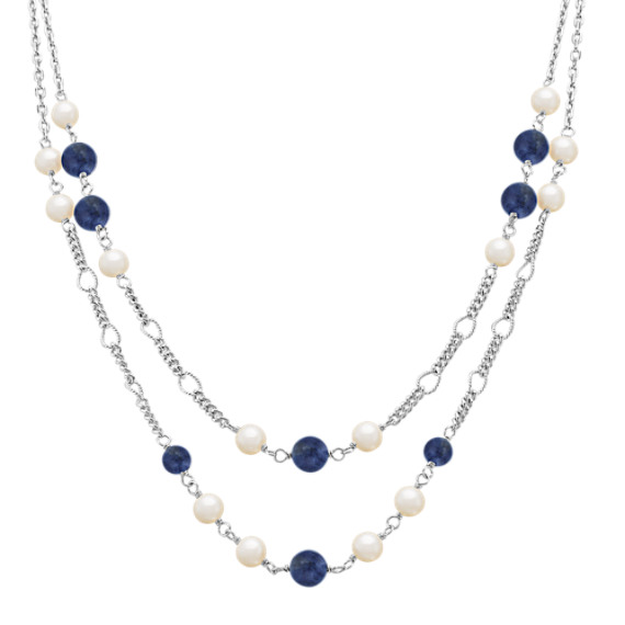 "Sodalite, 6mm Cultured Freshwater Pearl and Sterling Silver Necklace (25"")"
