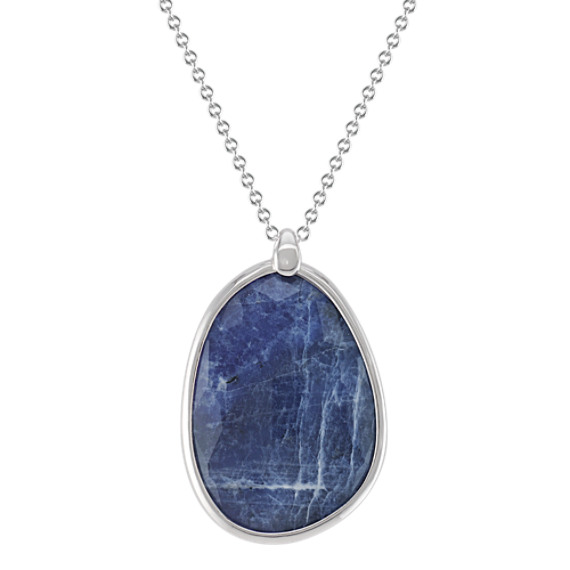 "Sodalite and Sterling Silver Pendant (18"")"