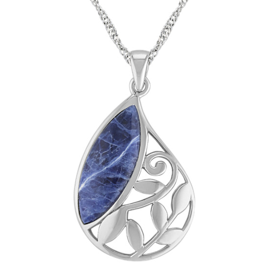 Sodalite and Sterling Silver Pendant (18)