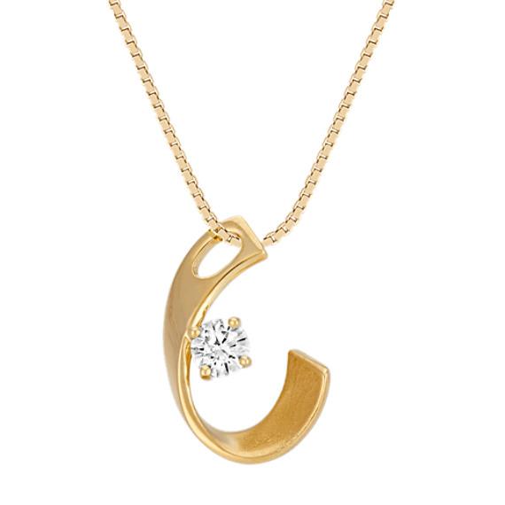 "Solitaire Round Diamond Swoop Pendant in 14k Yellow Gold (18"")"