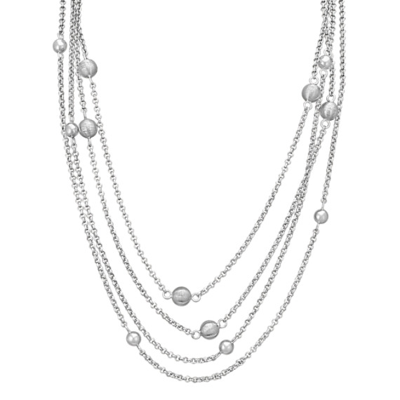 "Sphere Accent Sterling Silver Necklace (47"")"