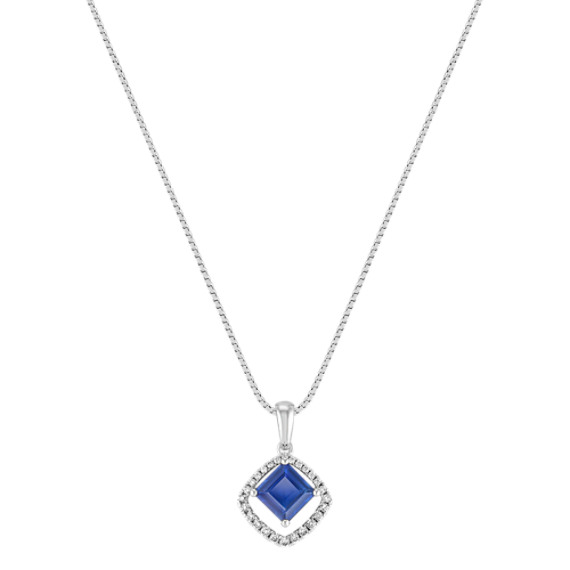 Square Cut Sapphire and Round Diamond Pendant (18)