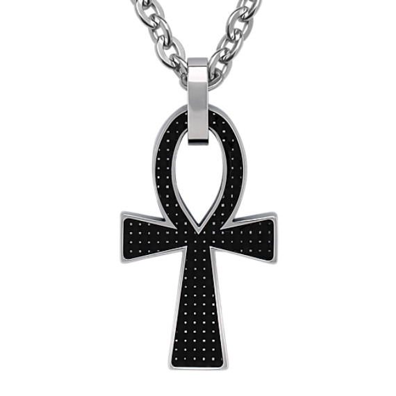 Stainless Steel and Carbon Fiber Cross Necklace (22)