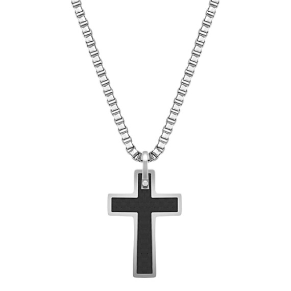 Stainless Steel and Carbon Fiber Cross Necklace (20)