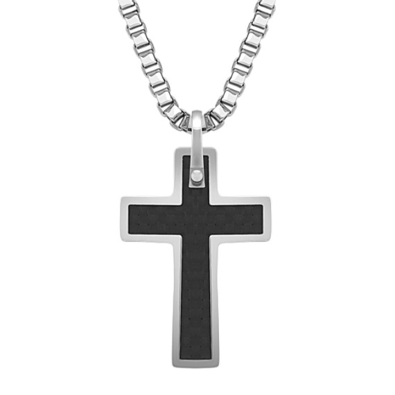"Stainless Steel and Carbon Fiber Cross Necklace (20"")"