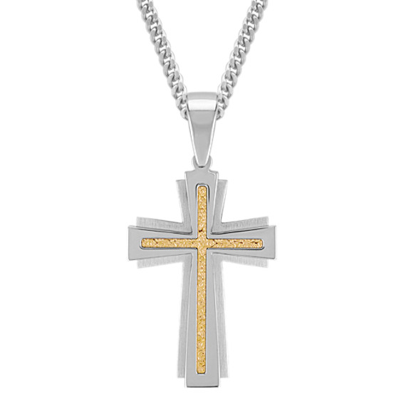 "Stainless Steel and Yellow Gold Cross Necklace (24"")"
