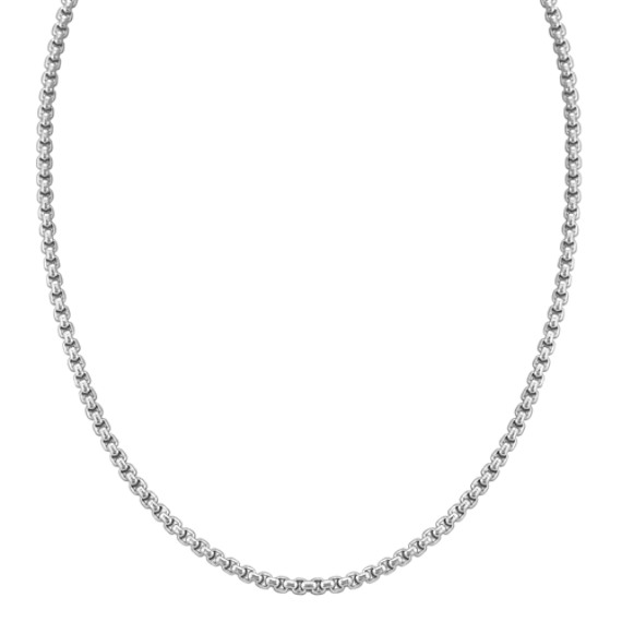 "Stainless Steel Box Necklace (30"")"