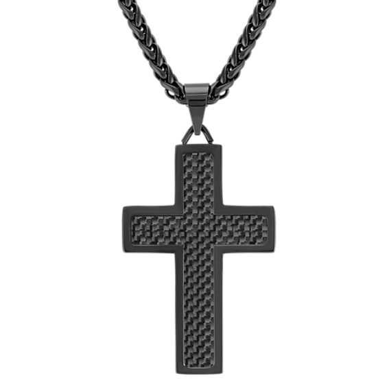 "Stainless Steel Cross Necklace with Black Carbon Fiber Accents (24"")"