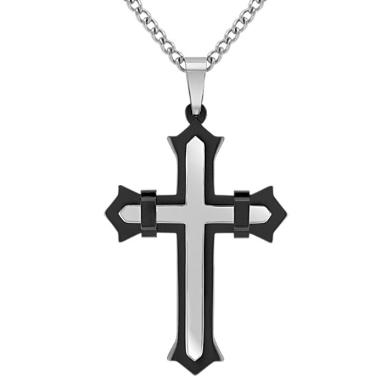 """Stainless Steel Cross Necklace with Black Ionic Plating (24"""")"""