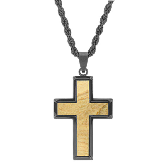 Stainless Steel Cross Necklace with Wood Inlay (24 in.)