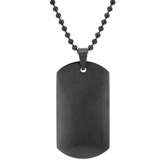 Stainless Steel Dog Tag Necklace with Black Ionic Plating (24)