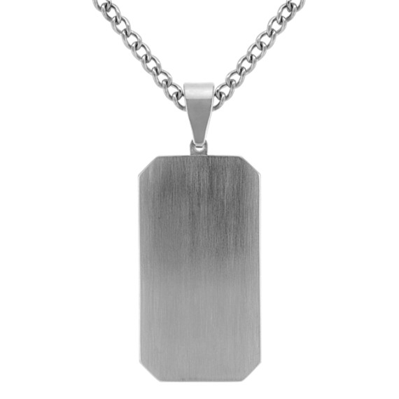 """Stainless Steel Dog Tag Necklace with Black Ionic Plating (24"""")"""