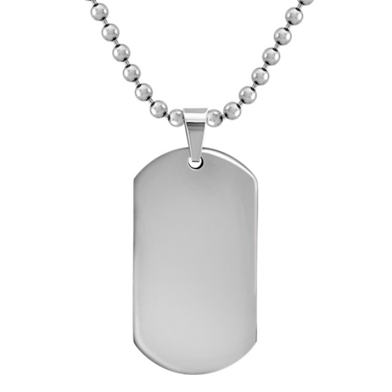 "Stainless Steel Dog Tag Necklace (24"")"