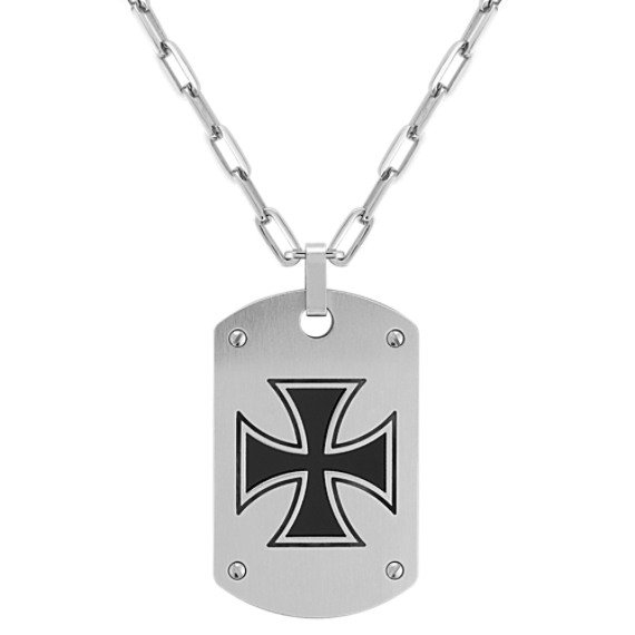 Stainless Steel Polished Cross Dog Tag Necklace (22)