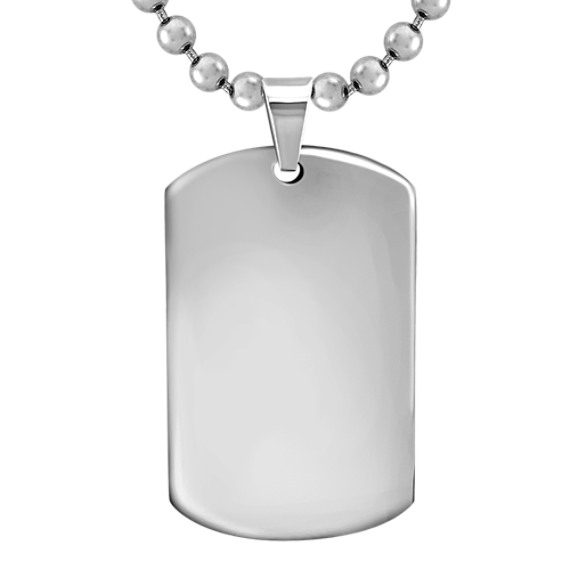 "Stainless Steel Polished Dog Tag Necklace (22"")"