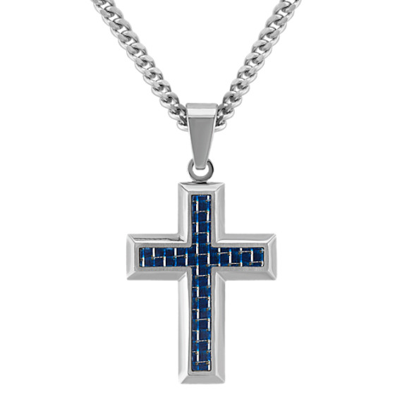 Stainless Steel with Black and Blue Carbon Fiber Cross Necklace (24)