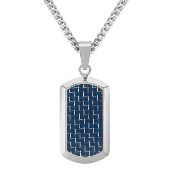 "Stainless Steel with Black and Blue Carbon Fiber Dog Tag Necklace (24"")"