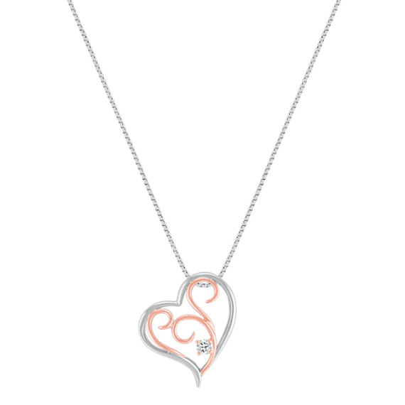 Sterling Silver and 14k Rose Gold Diamond Heart Pendant (18)