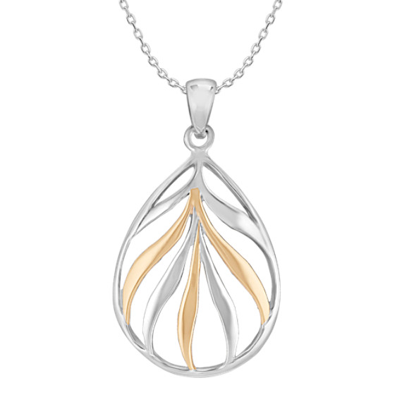 Sterling Silver and 18k Yellow Gold Teardrop Pendant (18)