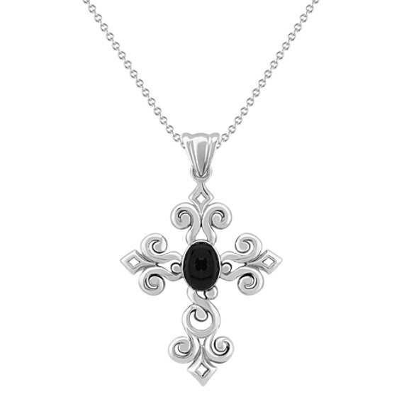 "Sterling Silver and Black Agate Cross Pendant (18"")"