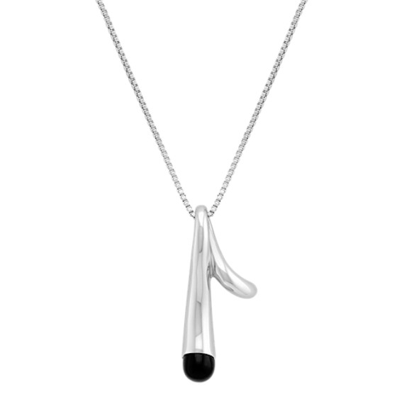 Sterling Silver and Black Agate Necklace (18)