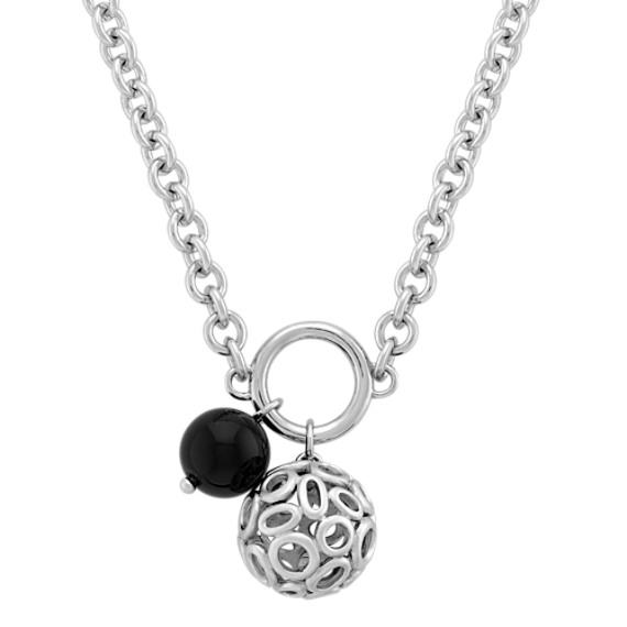 "Sterling Silver and Black Agate Necklace (20"")"