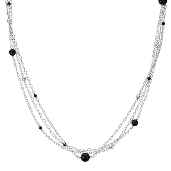 Sterling Silver and Black Agate Necklace (24 in.)