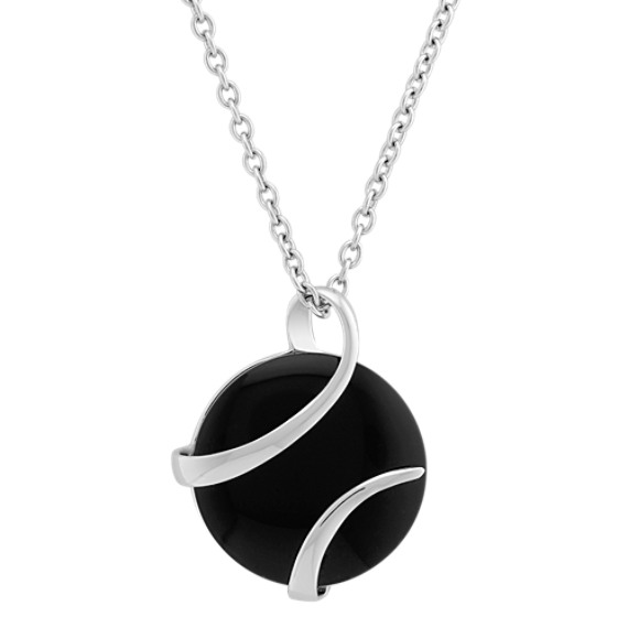 Sterling Silver and Black Agate Pendant (18)