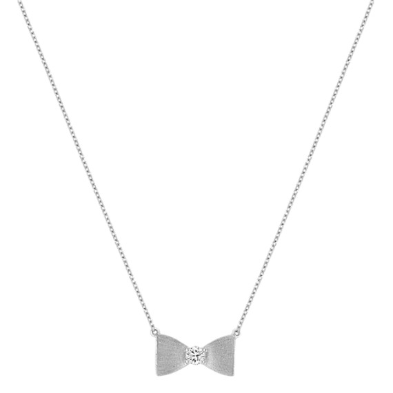 Sterling Silver and Diamond Bow Necklace with Satin Finish (18)