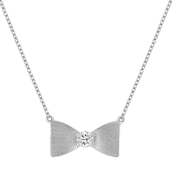 "Sterling Silver and Diamond Bow Necklace with Satin Finish (18"")"