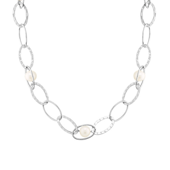 "Sterling Silver and Pearl Necklace (24"") 9mm Freshwater"