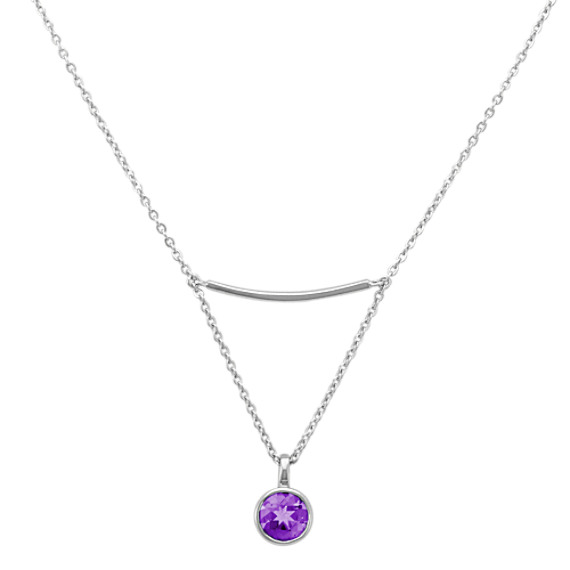 """Sterling Silver Bar Necklace with Drop Accent of Round Amethyst (16"""")"""