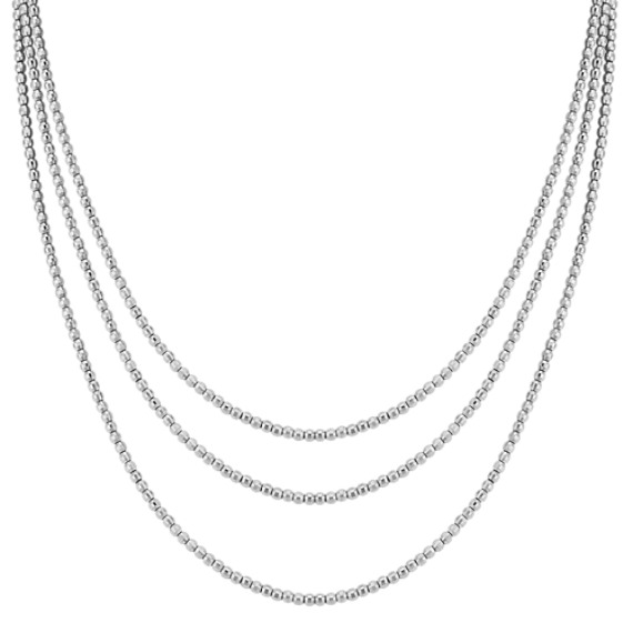 Sterling Silver Beaded Necklace (80 in.)