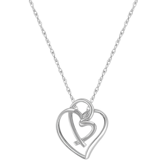 "Sterling Silver Double Heart Pendant (18"")"