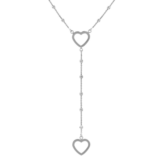 Sterling Silver Double Heart Y-Shaped Necklace (24)