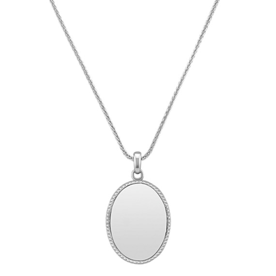 "Sterling Silver Engravable Oval Pendant (24"")"