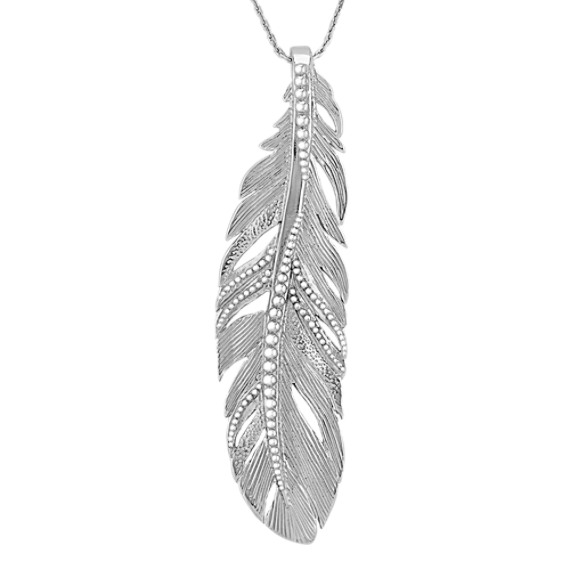 "Sterling Silver Feather Pendant (18"")"