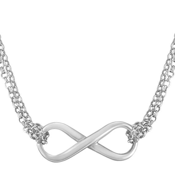"Sterling Silver Infinity Necklace (18"")"