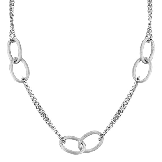 "Sterling Silver Interlocking Link Necklace (18"")"