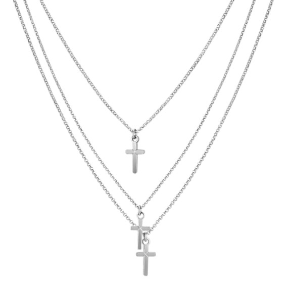 "Sterling Silver Layered Cross Pendant (18"")"