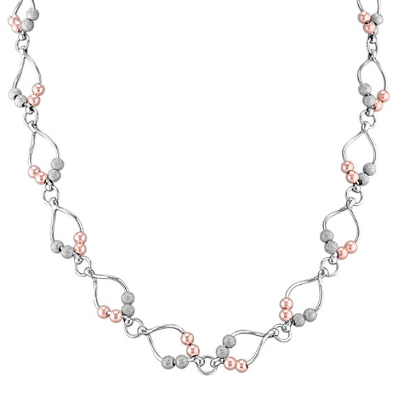 Sterling Silver Rose Beaded Necklace (22)