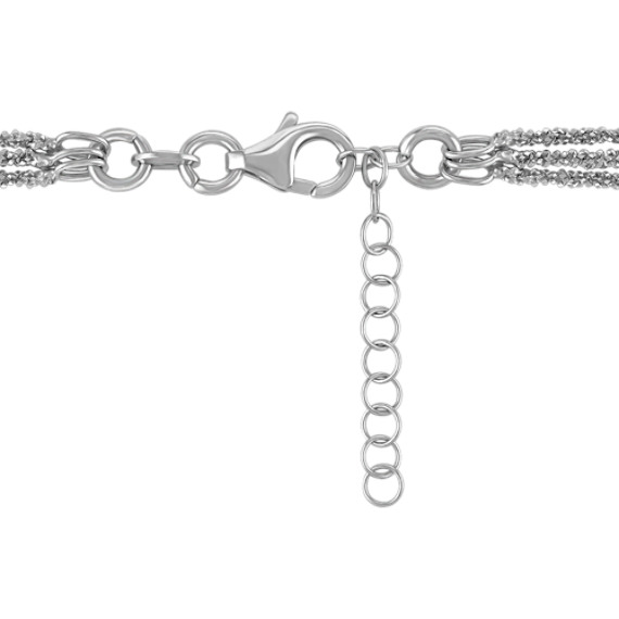 "Sterling Silver Three Chain Necklace (18"")"