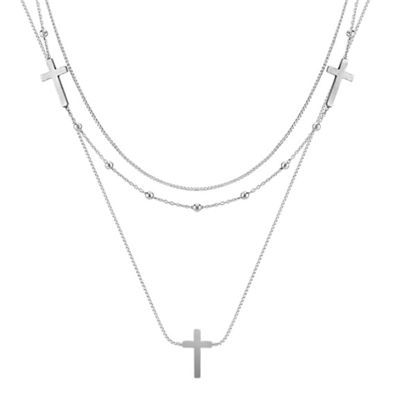 Sterling Silver Triple Chain Cross Necklace (18)