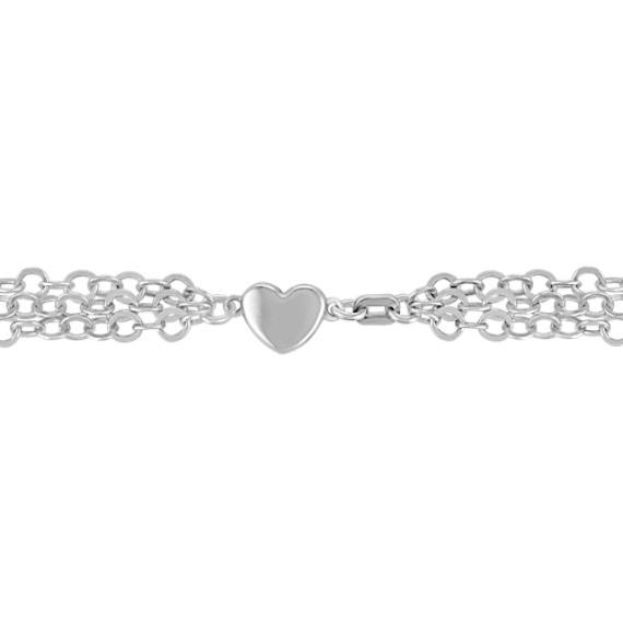 "Sterling Silver Triple Chain Necklace with Magnetic Heart Clasp (18"")"