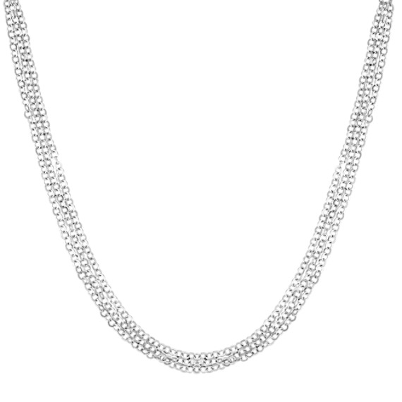 Sterling Silver Triple Chain Necklace with Magnetic Heart Clasp (18)