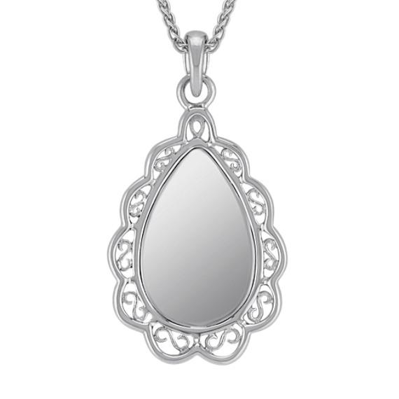 Sterling Silver Vintage Teardrop Pendant (24)