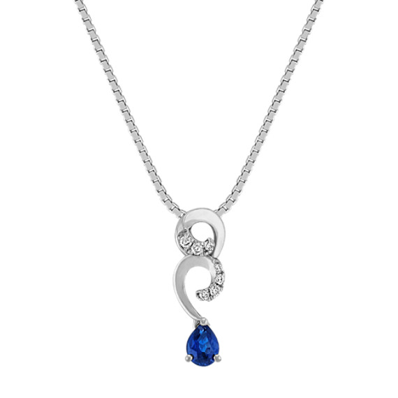 Swirl Pear-Shaped Sapphire and Diamond Pendant (18)